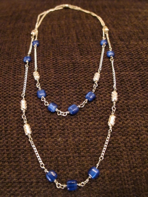 chain necklace with blue square beads