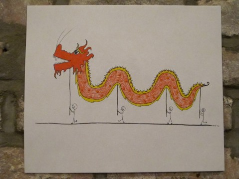 red luck dragon in a parade