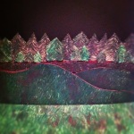 Forest and hills painted green made from foamboard