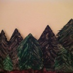 Foamboard carved evergreen trees
