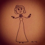 Pencil stickfigure-esque drawing of Marilyn Monroe in Gentlemen Prefer Blondes, Doamonds are a Girl's Best Friend sequence