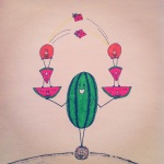 ink illustration of a watermelon balancing on a cocnut as it holds watermelon wedges and oranges in each hand