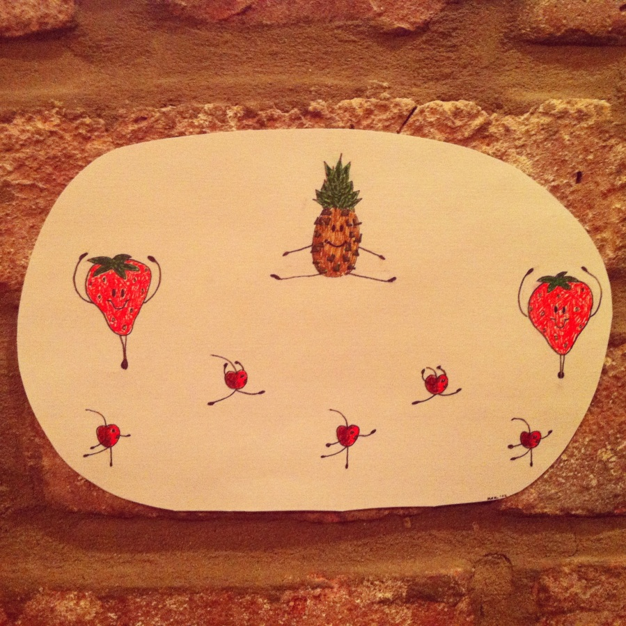ink illustration of 5 cherries, 2 strawberries and a pineapple performing in a ballet