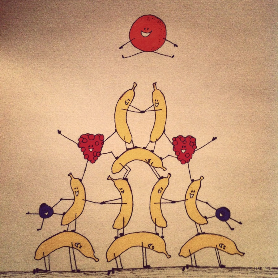 ink illustration of a bana pyramid with berries balancing on its sides and an orange leaping at the top