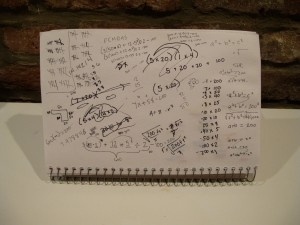 scratch paper of problems that equal 200 in different ways