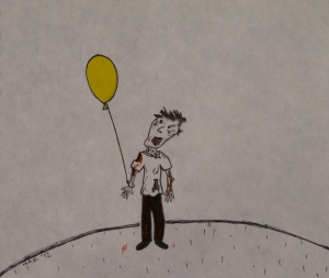 ink illustration of bloody zombie smiling at a yellow balloon tied to his wrist
