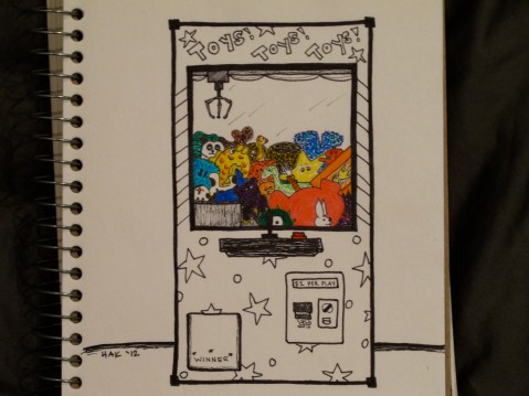 Ink illustration of a claw toy machine filled with different kinds of stuffed animals and toys