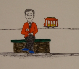 ink illustration of mr rogers holding a daisy near his trolly