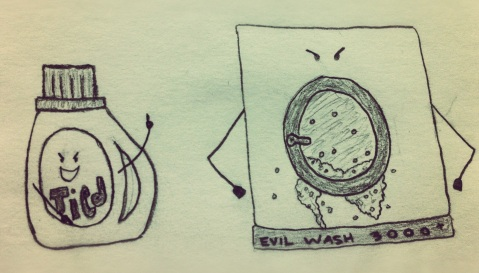 "Pencil drawing of Evil ""Tied"" detergent and and evil washing machine bubbling at the mouth"