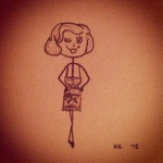 Pencil stickfigure-esque drawing of Marilyn Monroe in Some Like It Hot lingerie
