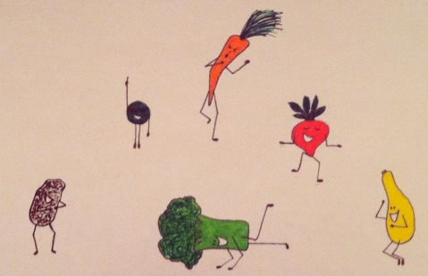 Ik illustration of a vegetable dance circle