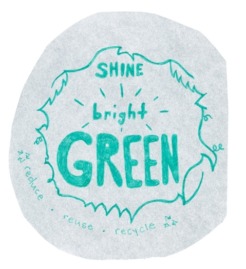 Positive green message reading, shine bright green. Illustrated with a circle of leaves and vines surrounding it and reduce reuse recycle written below.