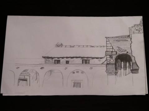 Unfinished Pencil sketch of arches in the Capistrano Mission of California