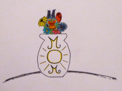 Pen and ink drawing of flowers in a vase cool for Mom on Mother's Day!